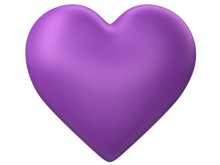 Purple 3d Love Heart with Transparent Background - Valentine Clip-art