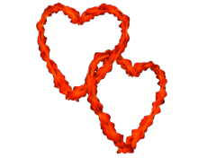 Red Orange Flowery Entangled Love Hearts - Valentine clip-art