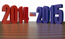 Fiscal Year - 2014 - 2015 - 3d Clip-art with reflection on Shiny wooden floor