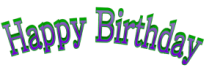 Cool Arched Happy Birthday 3d Text Clip-art in Green Purple color.