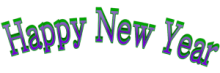 Cool Arched Happy New Year 3d Text Clip-art in Green Purple color.