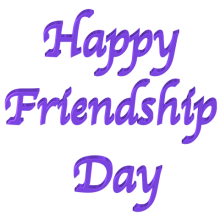 Shiny Purple 3d text clip-art Happy Friendship Day with Transparent Background