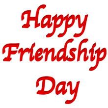 Shiny Red 3d clip-art featuring text Happy Friendship Day with Transparent Backg