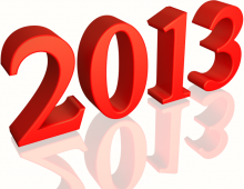 Shiny Red 2013 3d text (with Reflection) Clip-art