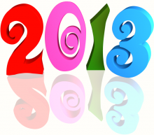 Multicolor 2013 3d text (with Reflection) Clip-art