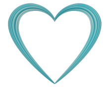 Sky Blue Love Heart Embossed Border - Valentine Clip-art
