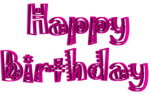 Jokerman Font Happy Birthday 3d Text Clip-art in Magenta color.