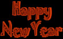 Jokerman Font Happy New Year 3d Text Clip-art in Orange color.
