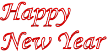 Outlined Happy New Year 3d Text Clip-art in Red color.