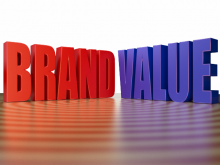 3d Render of Corporate Buzzword Brand Value in Shiny Red Blue Color