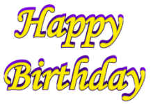 Shadow Bordered Happy Birthday 3d Text Clip-art in Yellow Purple color.