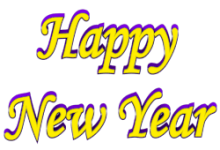 Shadow Bordered Happy New Year 3d Text Clip-art in Yellow Purple color.
