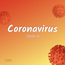 Gradient Red Orange Background with Red Coronavirus Cells
