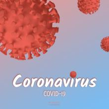 Red Coronavirus Cells Cells on a Gradient Blue Pink Background