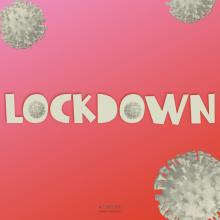 Lockdown text on gradient background with 3d renders of Covid-19 cells