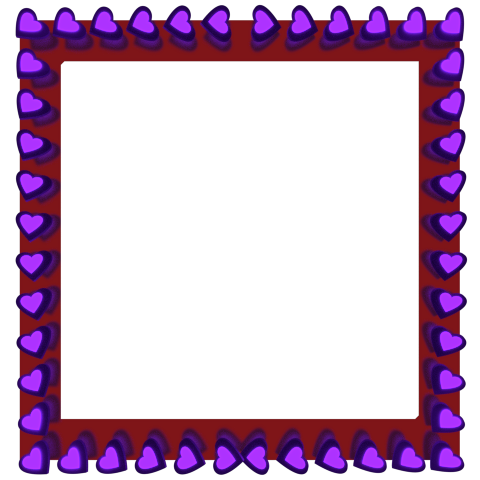 Purple Love Hearts Reflection on Red Square Border - Valentine Clipart