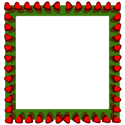 Hearts Red Green Border
